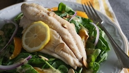 Meyer Lemon Poached U.S. Farm-Raised Catfish with Citrus Spinach Salad