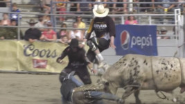 Bullfighters Waye, Monea and Byrne Save the Day for Bullrider Jacob Gardner