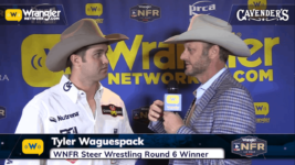 Tyler Waguespack Steals Round 6 of Steer Wrestling – Cavender's WNFR Now!