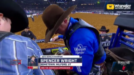 Team Wrangler's Spencer Wright Sits First in Saddle Bronc