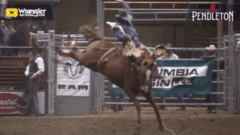 Jesse James Kirby Leads Saddle Bronc Competition in Redmond